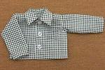グリーンのチェック柄長袖シャツ・28cmサイズ