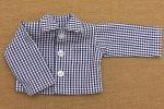 紺のギンガムチェックの長袖シャツ・28cmサイズ