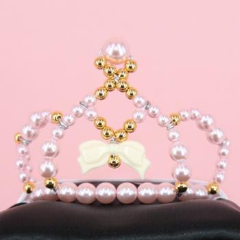White ribbon Tiara【pink】