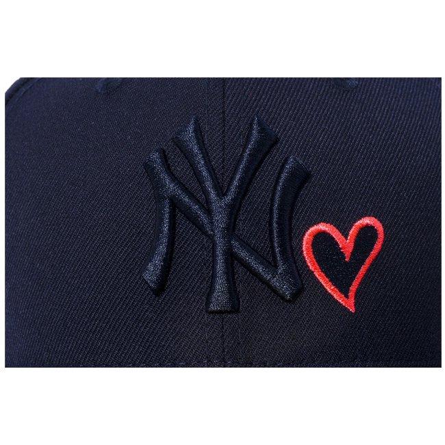 ニューエラ 5950キャップ ネイビーロゴ ハートロゴコレクション ニューヨークヤンキース ネイビー ミッドナイトネイビー FLサンセットオレンジの画像