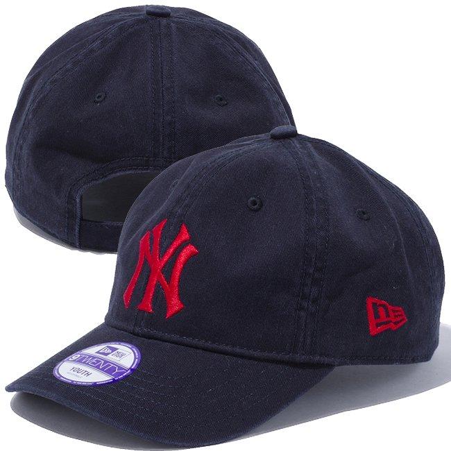 ニューエラ 920 キッズ キャップ ベーシックコットン ニューヨークヤンキース カスタム ネイビー ネイビー ラディアントレッド ラディアントレッドの画像