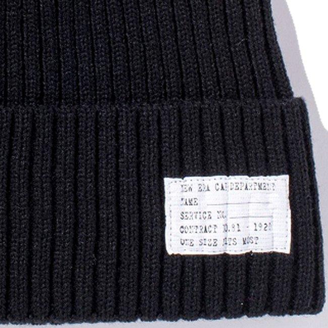 ニューエラ キッズニットキャップ ミリタリーニット パッチ ブラック スノーホワイトの画像