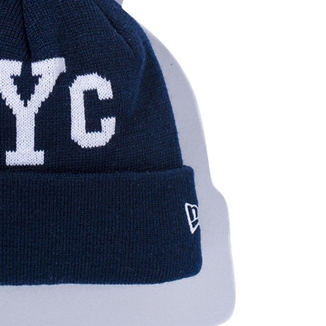 ニューエラ キッズニットキャップ ポンポンニット ニューヨークシティ NYC ネイビー ホワイト スノーホワイトの画像