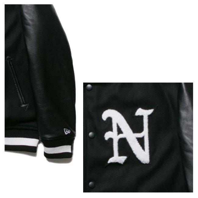 ニューエラ スタジアムジャケット N パッチ ブラック ブラック ホワイト ブラック ホワイトの画像