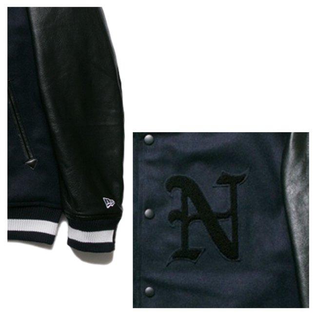 ニューエラ スタジアムジャケット N パッチ ネイビー ブラック ブラック ネイビー ホワイトの画像