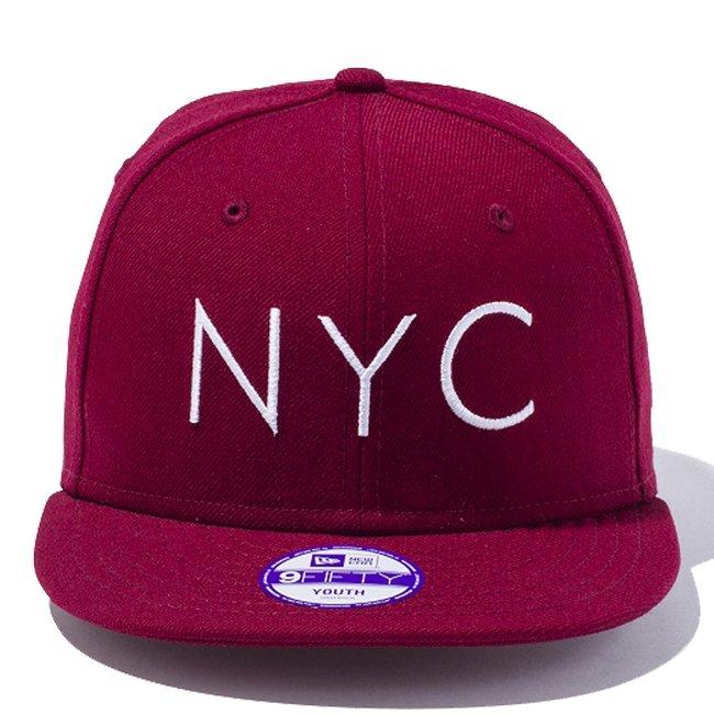 ニューエラ 950 スナップバック キッズ キャップ ニューヨークシティロゴ カーディナル カーディナル スノーホワイト スノーホワイトの画像