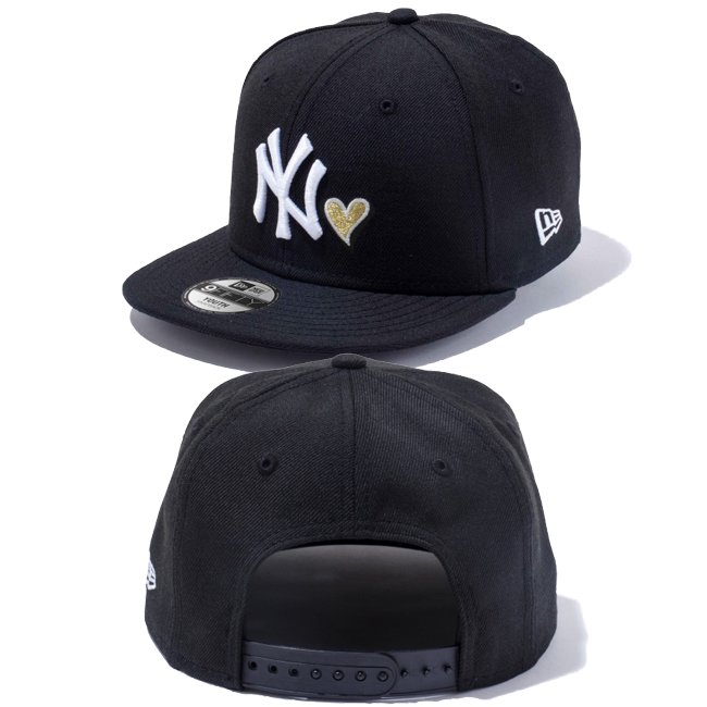 ニューエラ 950 スナップバック キッズ キャップ ハートロゴコレクション ニューヨークヤンキース ブラック ブラック スノーホワイト メタリックゴールド スノーホワイトの画像