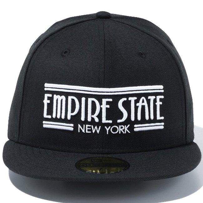 ニューエラ 5950キャップ ホワイトロゴ エンパイアステート ニューヨーク ブラック ブラック スノーホワイト スノーホワイトの画像