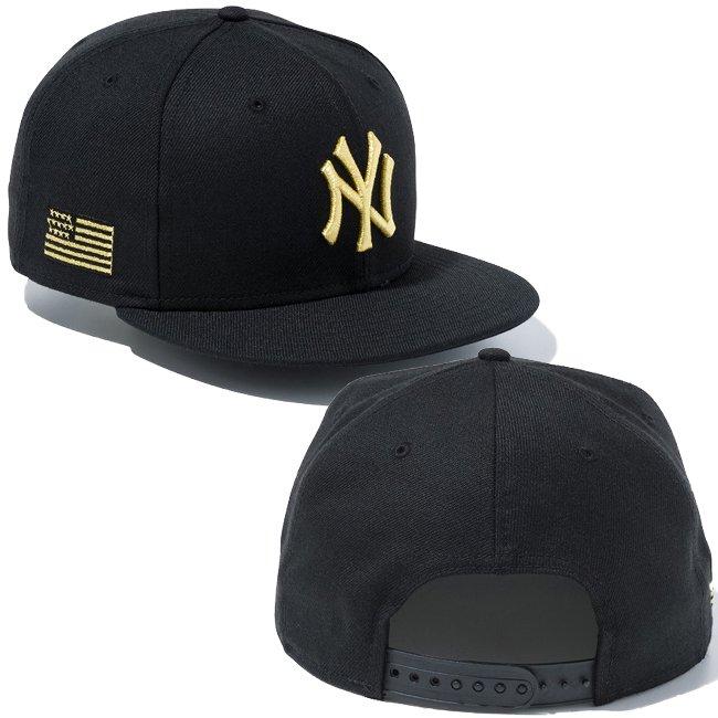ニューエラ 950 スナップバック キャップ MLB ニューヨークヤンキース ユーエスエーフラッグ ブラック ブラック メタリックゴールド メタリックゴールドの画像