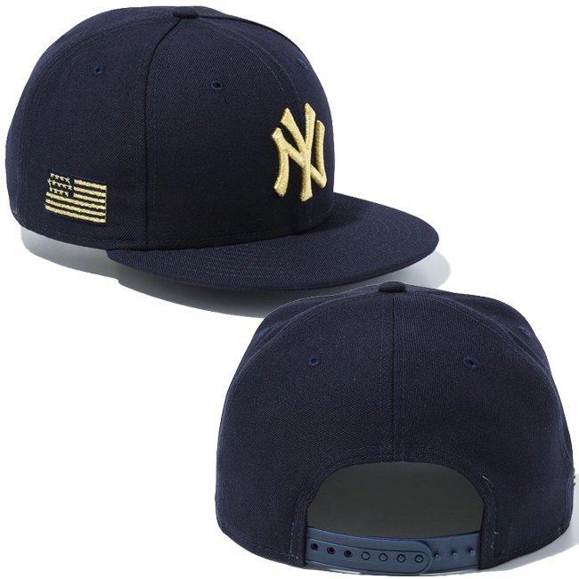 ニューエラ 950 スナップバック キャップ MLB ニューヨークヤンキース ユーエスエーフラッグ ネイビー ネイビー メタリックゴールド メタリックゴールドの画像