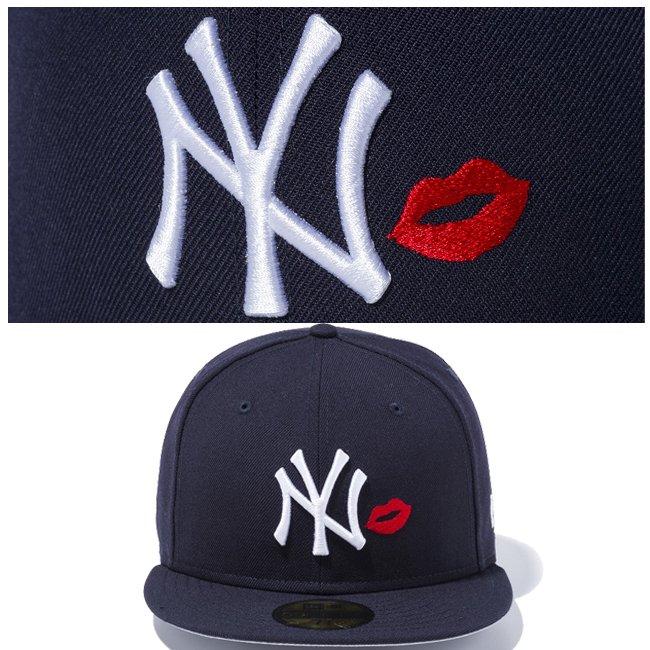 ニューエラ 5950キャップ マルチロゴ ニューヨークヤンキース リップ ネイビー ネイビー スノーホワイト ラディアントレッド スノーホワイトの画像