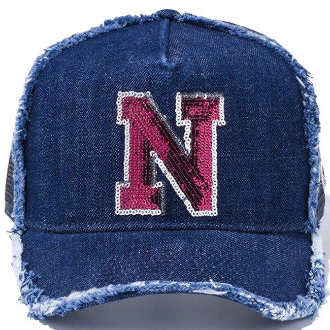 ニューエラ 940 スナップバック キャップ エーフレームトラッカー シークインド N ロゴ インディゴデニム ネイビーメッの画像