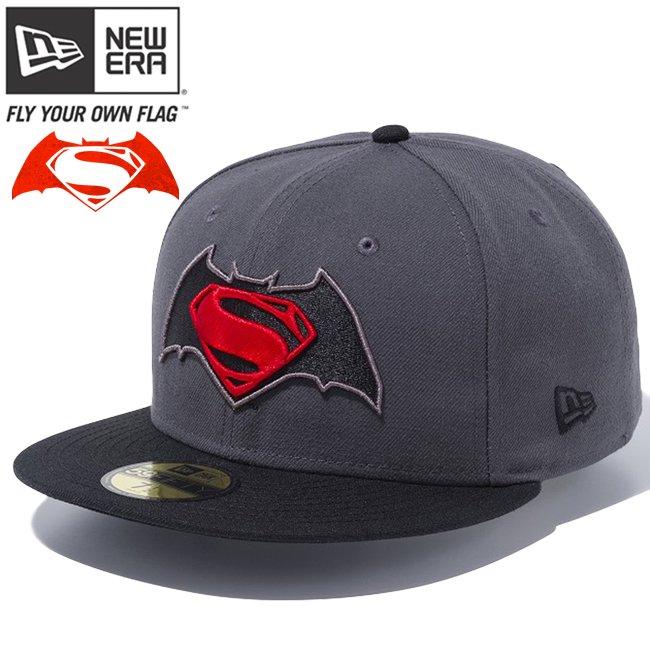 バットマン×ニューエラ 5950キャップ マルチロゴ バットマンvsスーパーマンロゴ ダークグラファイト ブラック ブラック ラディアントレッド ダークグ…