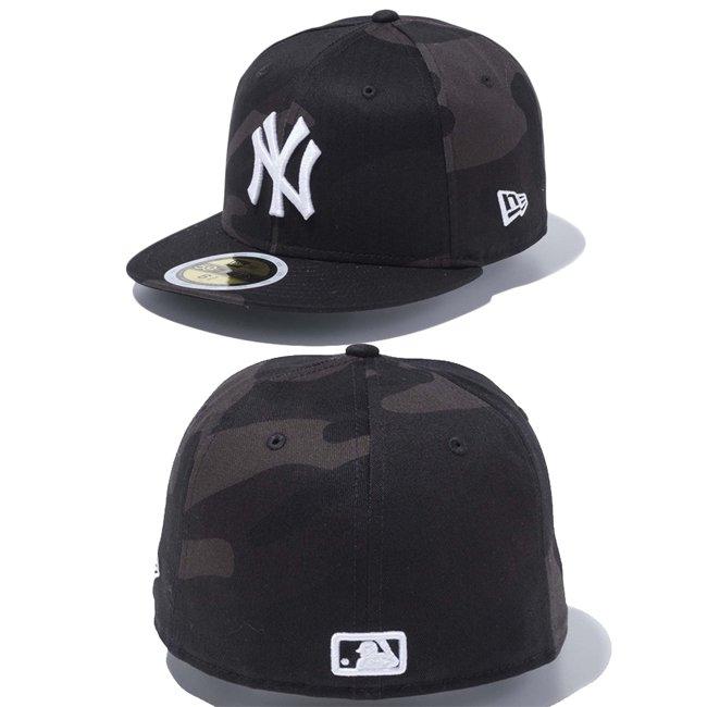 ニューエラ 5950キッズキャップ ホワイトロゴ ニューヨーク ヤンキース ウッドランドカモブラック スノーホワイトの画像