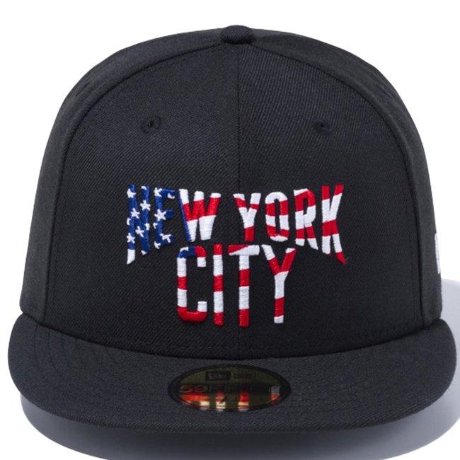 ニューエラ 5950キャップ マルチロゴ ニューヨークシティ スターズアンドストライプス ブラック ブルーインク スノーホワイト ラディアントレッド ホワイトの画像