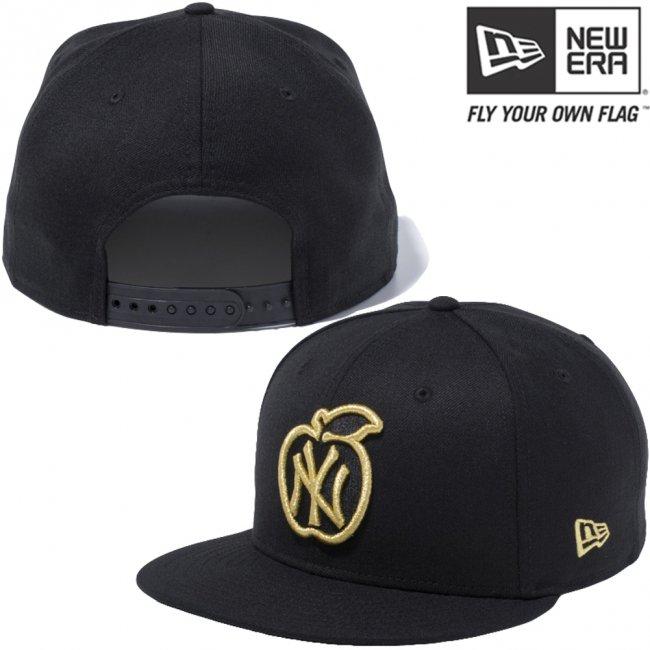 ニューエラ 950 スナップバック キャップ アップルロゴコレクション ニューヨークヤンキース ブラック メタリックゴールド ブラック メタリックゴールドの画像