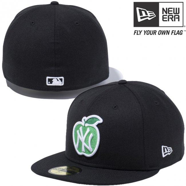 ニューエラ 5950キャップ マルチロゴ アップルロゴコレクション ニューヨークヤンキース ブラック スノーホワイト アップルグリーン グリーンベイ スノーホワイトの画像