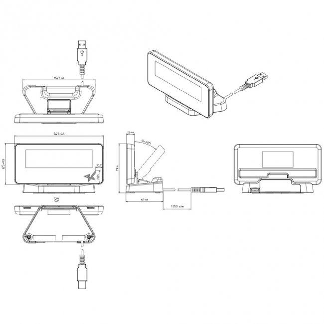スター精密 mPOP対応カスタマーディスプレイ SCD222U BLK USB接続 ピアノブラックの画像