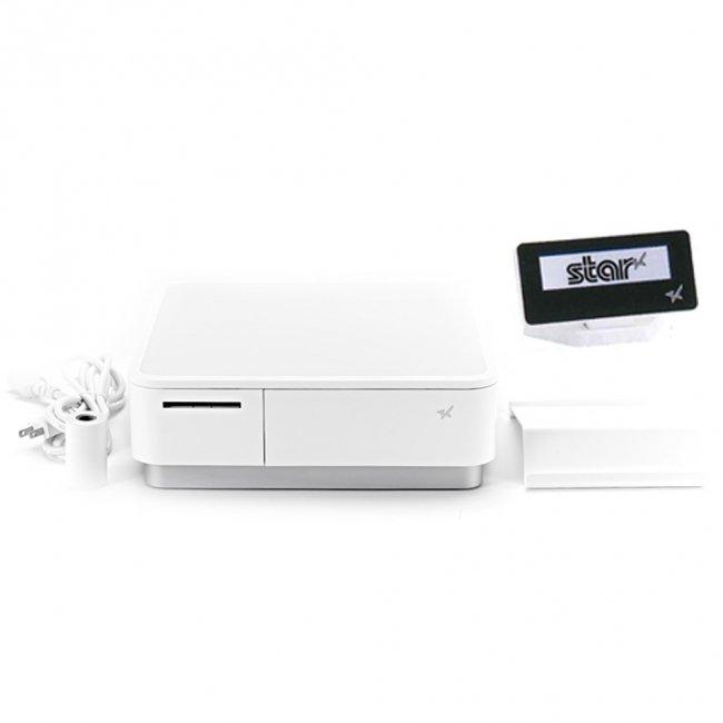 スター精密 キャッシュドロア一体型感熱式プリンター mPOP 旧 POP10-OF WHT JP 新 POP10 WHT JP セット(カスタマーディスプレイ付) Bluetooth MFi ホワ…