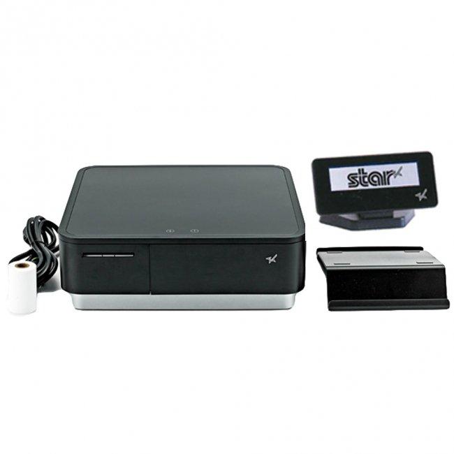 スター精密 キャッシュドロア一体型感熱式プリンター mPOP 旧 POP10-OF BLK JP 新 POP10 BLK JP セット(カスタマーディスプレイ付) Bluetooth MFi ブラ…