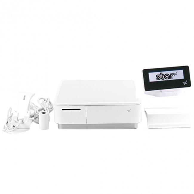 スター精密 キャッシュドロア一体型感熱式プリンター mPOP 旧 POP10-B1OF WHT JP 新 POP10-B1 WHT JP バーコードリーダー付 セット(カスタマーディスプレイ…