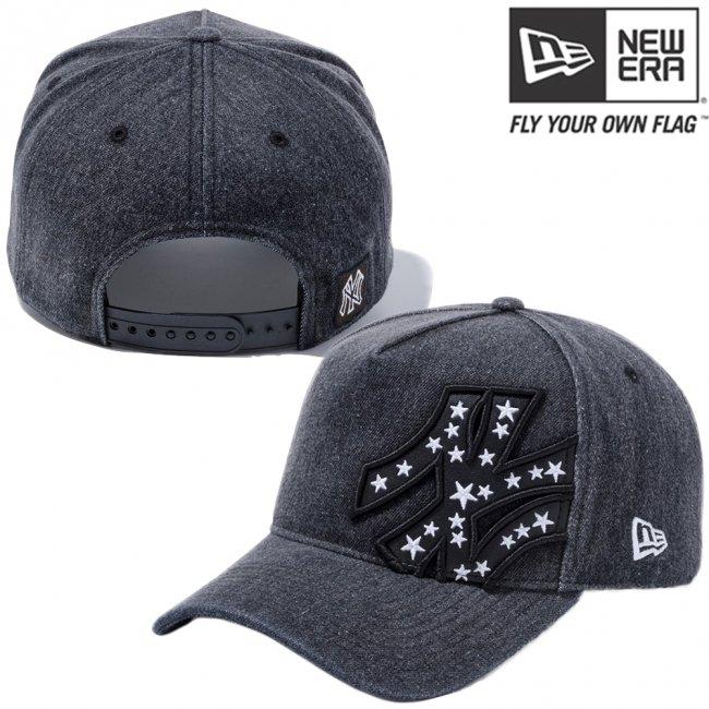 ニューエラ 940 エーフレームトラッカーキャップ ニューヨークヤンキース バタリアン スターズ ブラックデニム ブラック スノーホワイト スノーホワイトの画像