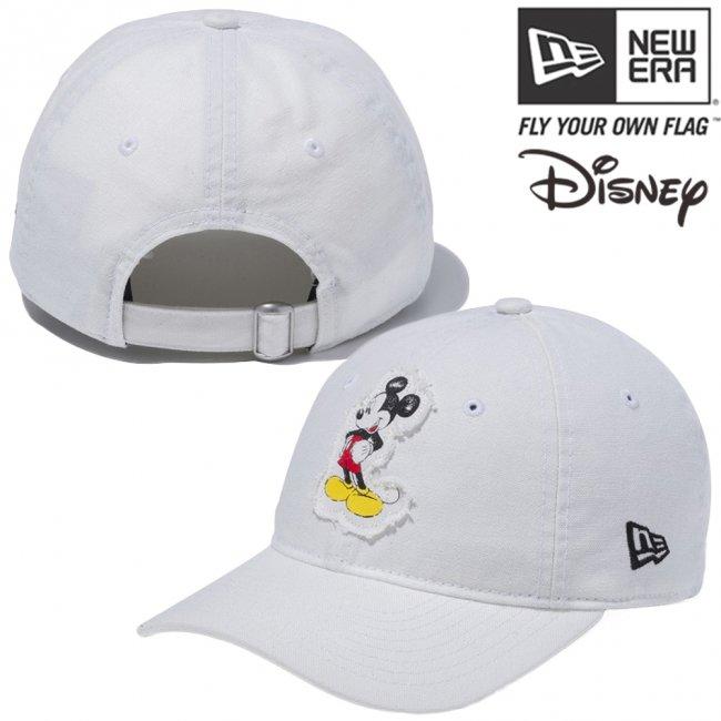 ディズニー×ニューエラ 920 クローズストラップ キャップ レトロ ミッキーマウス ウォッシュドアイボリーダック プリント ブラックの画像