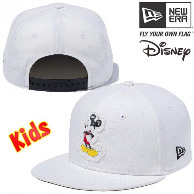 ディズニー×ニューエラ 950キッズ スナップバック キャップレトロ ミッキーマウス ウォッシュドアイボリーダック プリント ブラックの画像