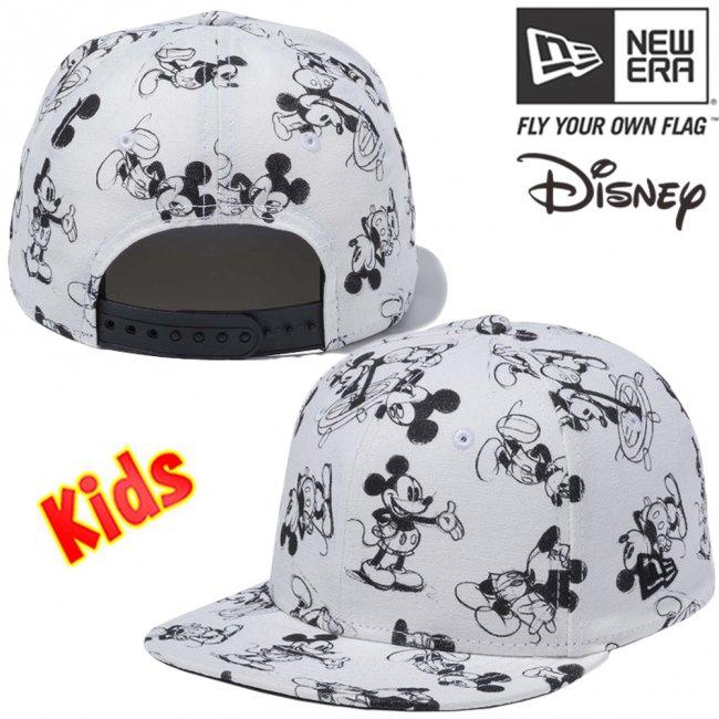 ディズニー×ニューエラ 950チャイルド スナップバック キャップレトロ ミッキーマウス ウォッシュドアイボリーダック ブラックの画像