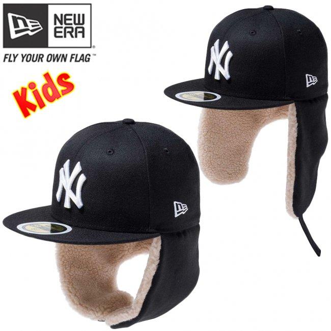 ニューエラ 5950キッズ キャップ ドッグイヤー ニューヨークヤンキース ブラック スノーホワイトの画像