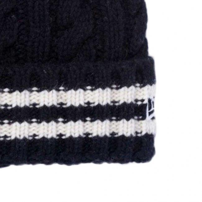 ニューエラ ローゲージ カフニット ウールブレンド ストライプ ブラック ブラック ホワイト スノーホワイトの画像