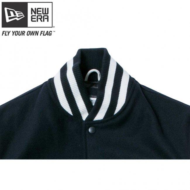 ニューエラ スタジアムジャケット メルトン レザー NEW ERA パッチ ネイビー ホワイト ネイビーの画像