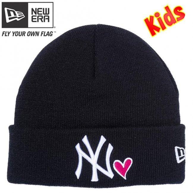 ニューエラ キッズニットキャップ ベーシック カフニット ハートロゴ ニューヨークヤンキース ブラック スノーホワイト ストロベリー スノーホワイトの画像
