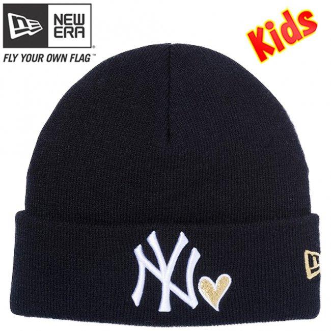 ニューエラ キッズニットキャップ ベーシック カフニット ハートロゴ ニューヨークヤンキース ブラック スノーホワイト メタリックゴールドの画像