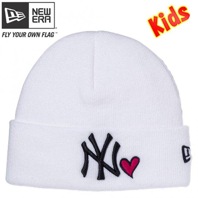 ニューエラ キッズニットキャップ ベーシック カフニット ハートロゴ ニューヨークヤンキース ホワイト ブラック ストロベリー ブラックの画像
