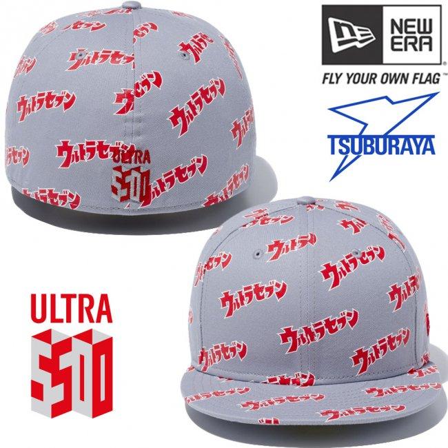 円谷プロダクション×ニューエラ 5950キャップ オールオーバー ウルトラセブン ロゴ プリント スカーレットの画像