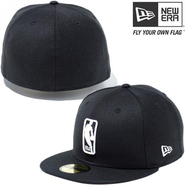 ニューエラ 5950キャップ ホワイトロゴ NBA ロゴマン ブラック スノーホワイト ブラック スノーホワイトの画像