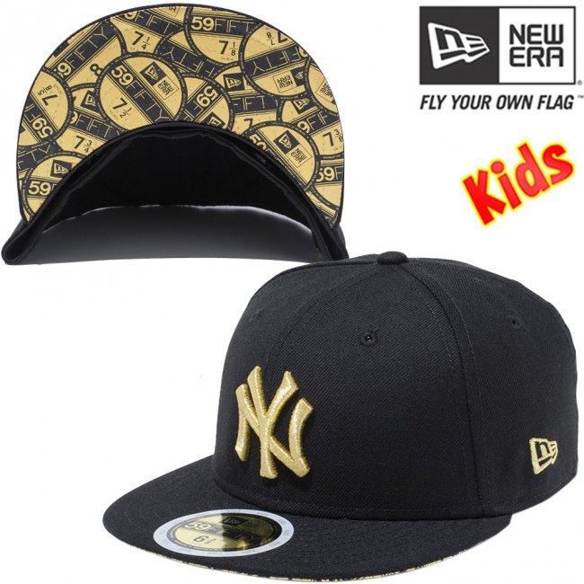 ニューエラ 5950キッズ キャップ アンダーバイザー ニューヨークヤンキース バイザーステッカー ブラック メタリックゴールドの画像
