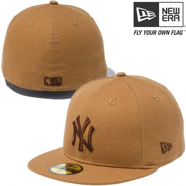 ニューエラ 5950キャップ ブラウンロゴ ダックキャンバス ニューヨークヤンキース タン ブラウンの画像