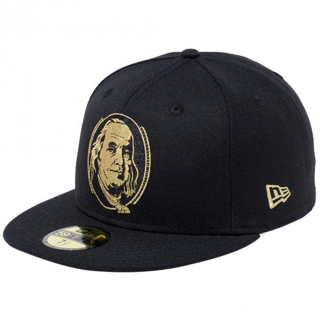 ニューエラ 5950キャップ ゴールドロゴ 100ドル札 ベンジャミン フランクリン ブラック メタリックゴールドの商品写真