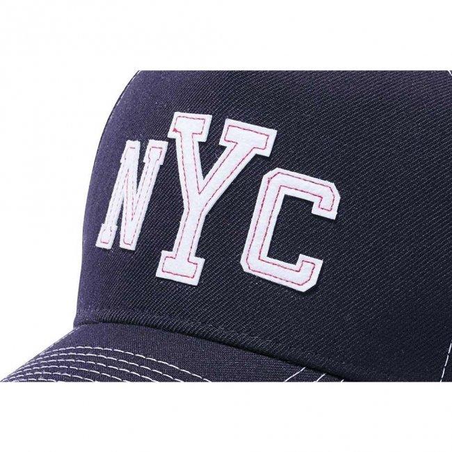 ニューエラ 940 エーフレームトラッカー キャップ コントラストスティッチ ニューヨークシティ NYC ネイビー ホワイトフェルトパッチ スノーホワイトの画像