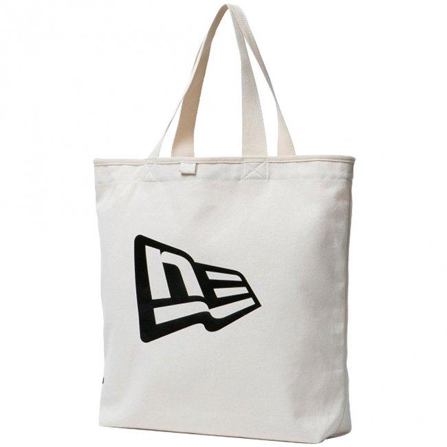 ニューエラ バッグ キャンバス トートバッグ フラッグロゴ アイボリー ブラックの商品写真