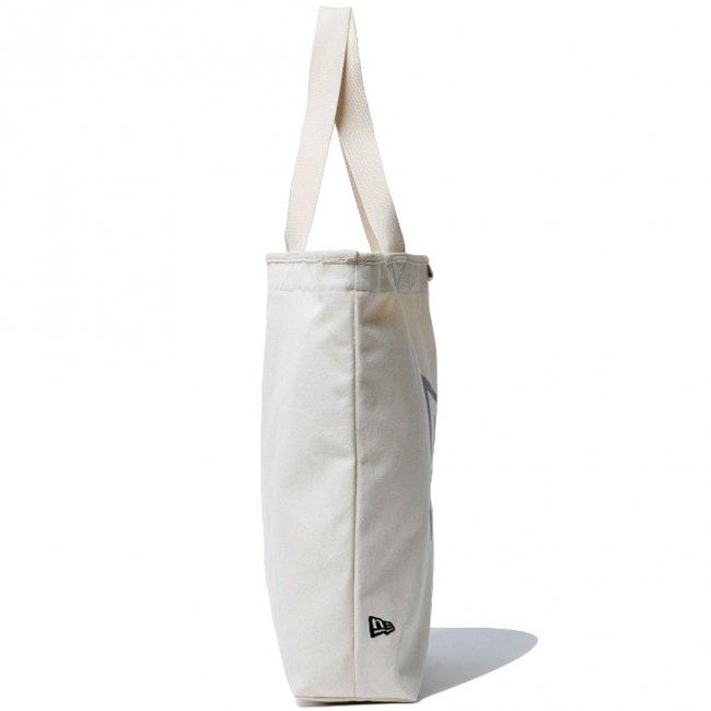 ニューエラ バッグ キャンバス トートバッグ バイザーステッカー アイボリー ブラックの画像