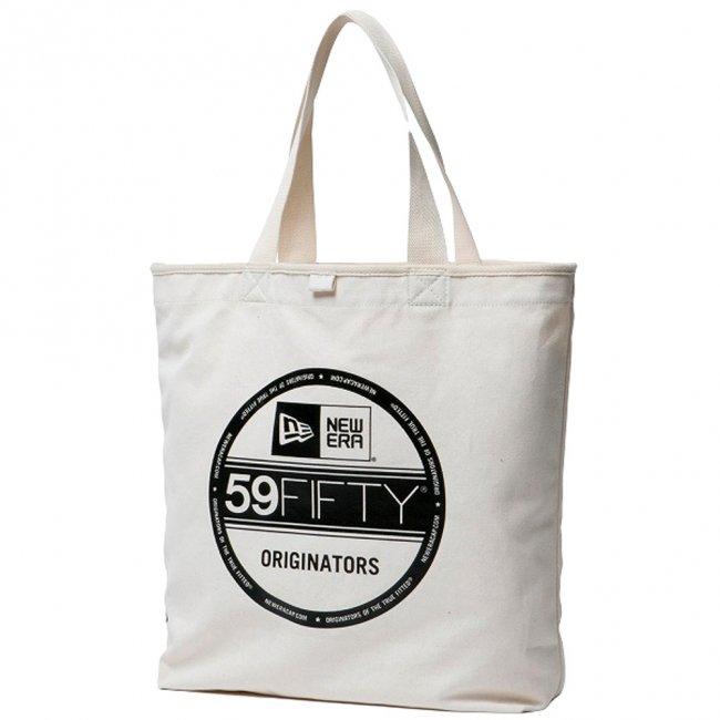 ニューエラ バッグ キャンバス トートバッグ バイザーステッカー アイボリー ブラックの商品写真