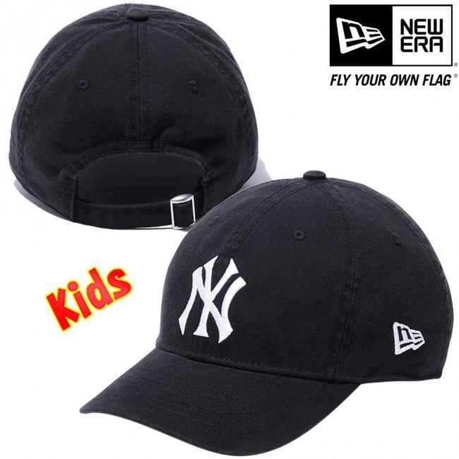 ニューエラ 920キッズキャップ クローズストラップ MLB カスタム ニューヨークヤンキース ブラック スノーホワイトの画像