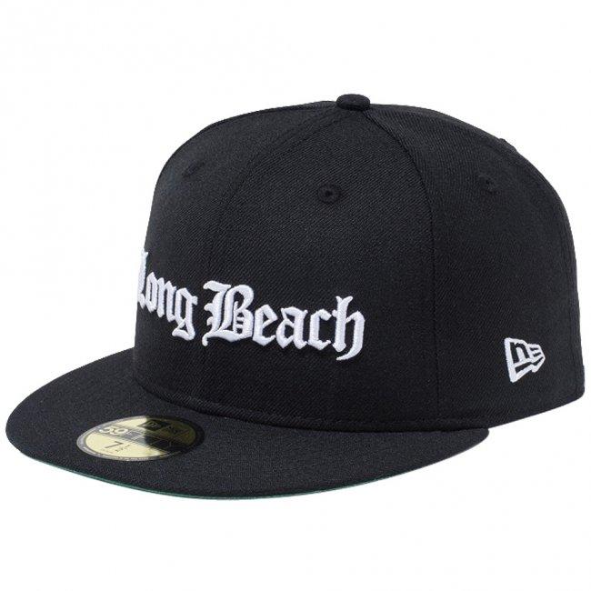 ニューエラ 5950キャップ ホワイトロゴ オールドイングリッシュ ロングビーチ ブラック スノーホワイトの商品写真