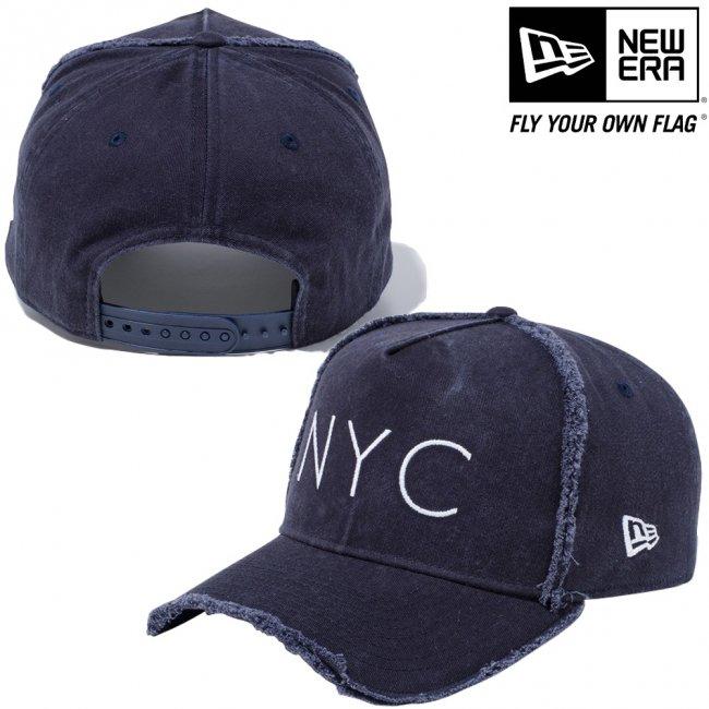 ニューエラ 940キャップ エーフレームトラッカー ニューヨークシティ NYC ダメージ ネイビー スノーホワイトの画像