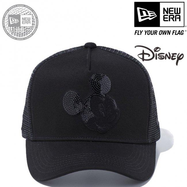 ディズニー×ニューエラ 940キャップ ゴルフ ディーフレームトラッカー ミッキーマウス ウィンク シークインド ブラック ブラックメッシュ ブラックの画像