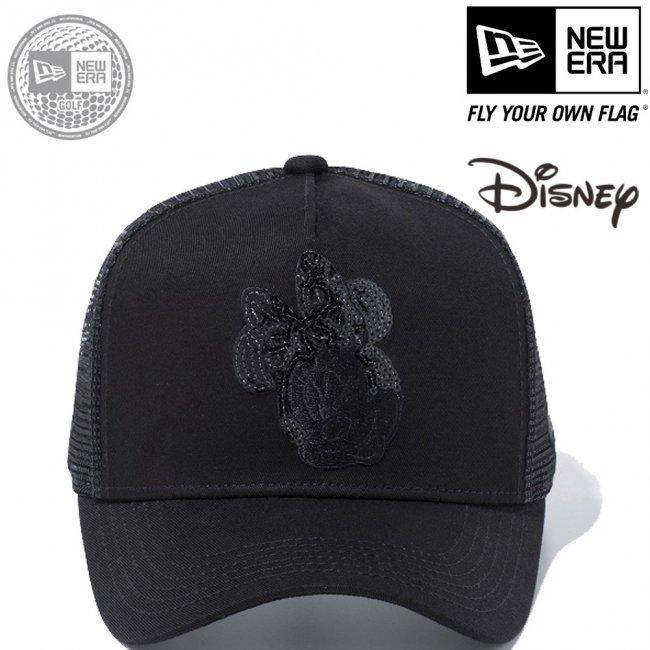 ディズニー×ニューエラ 940キャップ ゴルフ ディーフレームトラッカー ミニーマウス ウィンク シークインド ブラック ブラックメッシュ ブラックの画像