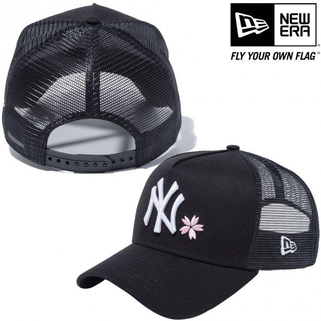 ニューエラ 940キャップ エーフレームトラッカー ニューヨークヤンキース ブラック ブラックメッシュ スノーホワイト ピンクの画像